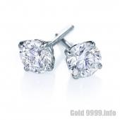 Серьги-гвоздики из белого золота с бриллиантами