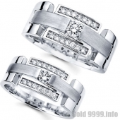 Обручальные кольца  из белого золота с бриллиантами