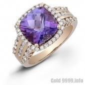 Кольцо из розового золота с бриллиантами и аметистом