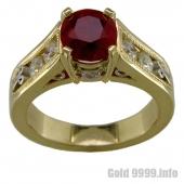 Рубин и бриллианты в золотом кольце