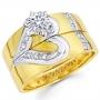Широкие обручальные кольца из желтого золота