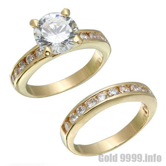 Обручальное кольцо золотое с бриллиантом