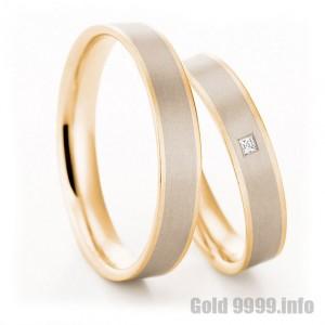 Комбинированные обручальные парные кольца